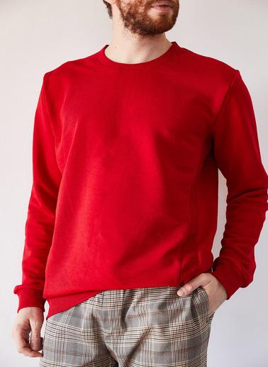 XHAN Su Yeşili Basic Üç Iplik Sweatshirt 1Kxe8-44232-38 Kırmızı